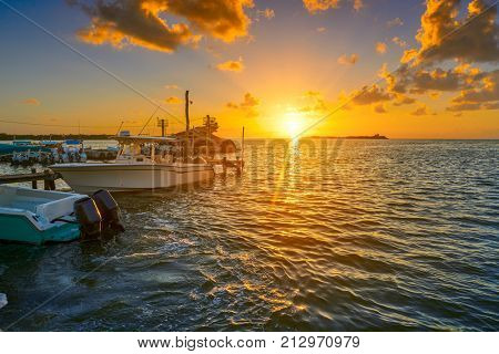Holbox island port sunset in Quintana Roo of Mexico