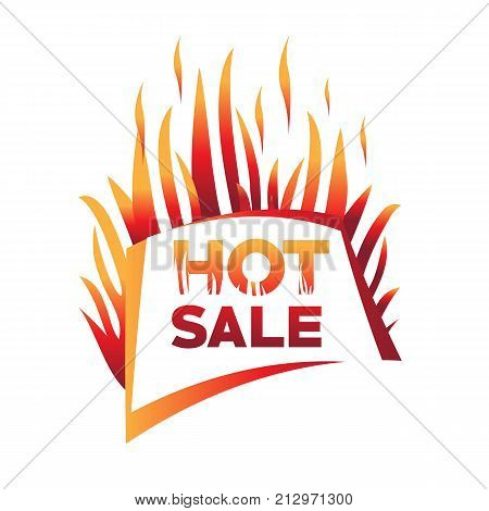 hot sale with flames, flames with hot sale, hot sale illustration, bold hot sale sign, hot sale vector, isolated on white background.