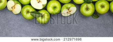 Apples Apple Fruit Fruits Banner Copyspace Slate Green Top View