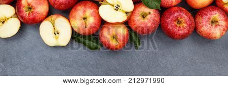 Apples Apple Fruit Fruits Slate Copyspace Banner Red Top View