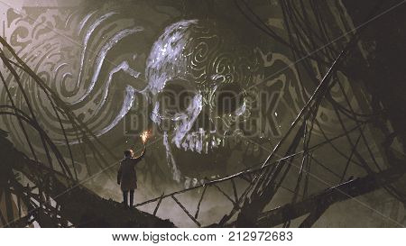 man with a torch looking at stone bas relief of the skull, digital art style, illustration painting
