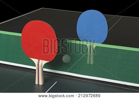 Ping Pong Paddles On Table, Standing Upright