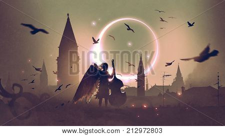 angel playing cello on roof top against night city with beautiful solar eclipse, digital art style, illustration painting