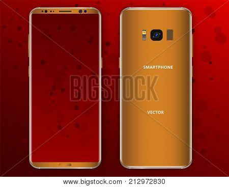 Realistic Gold mobile phone concept, front view and backside with camera, flash and speaker on a red background. Just put your image on content layer. Scale image any resolution