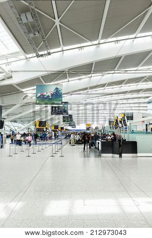 LONDON UK - CIRCA 2017: Interior of the Departure hall in Terminal 5 Heathrow Airport