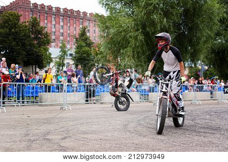 Yoshkar-Ola, Russia - August 9, 2015 Unknown racers Enduro during demonstration performances in Yoshkar-Ola, Russia