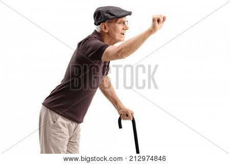 Senior preparing to knock on a door isolated on white background