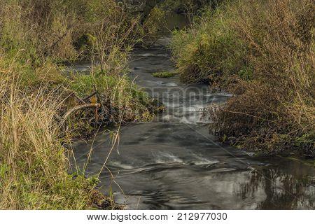 Bobri Creek In Ceske Stredohori Mountains Near Vernerice Town Part Loucky Village