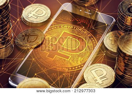 Smartphone with orange Crypto ruble symbol on-screen among golden crypto ruble coins. Cryptoruble concept coin & virtual wallet. 3D rendering