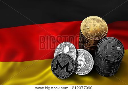Stack of Bitcoin coins on German flag. Situation of Bitcoin and other cryptocurrencies in Germany concept. 3D Rendering