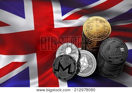 Stack of Bitcoin coins on UK flag. Situation of Bitcoin and other cryptocurrencies in UK concept. 3D Rendering
