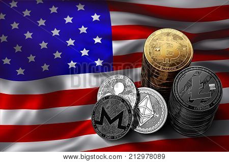 Stack of Bitcoin coins on USA flag. Situation of Bitcoin and other cryptocurrencies in USA concept. 3D Rendering