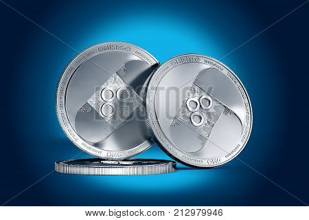 Stack of OMISEGO (OMG) coin on gently lit dark blue background. 3D rendering (new virtual money)