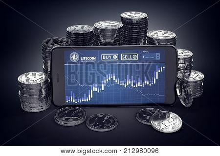 Smartphone with Litecoin trading chart on-screen among piles of silver Litecoins. Litecoin trading concept. 3D rendering