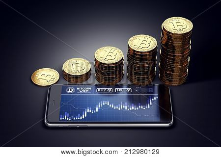 Smartphone with Bitcoin Cash chart on-screen and growing piles of golden Bitcoin Cash coins. BCC/BCH growth concept. 3D rendering