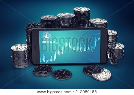 Smartphone with Litecoin growth chart on-screen among piles of Litecoins. Litecoin growth concept. 3D rendering