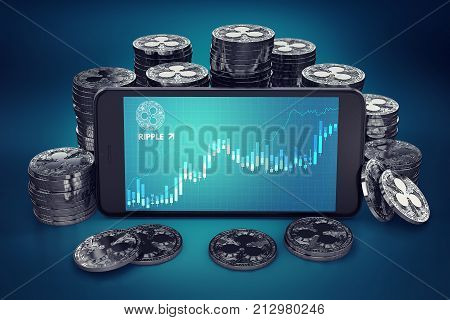 Smartphone with Ripple growth chart on-screen among piles of Ripple coins. Ripple growth concept. 3D rendering