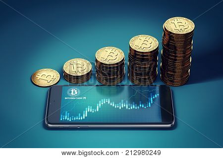 Smartphone with Bitcoin Cash surge chart and growing piles of golden Bitcoin Cash coins. Bitcoin Cash (BCC/BCH) growth concept. 3D rendering