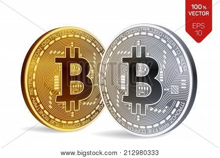 Bitcoin. 3D isometric Physical bit coin. Digital currency. Cryptocurrency. Golden and silver coins with bitcoin symbol isolated on white background. Stock vector illustration