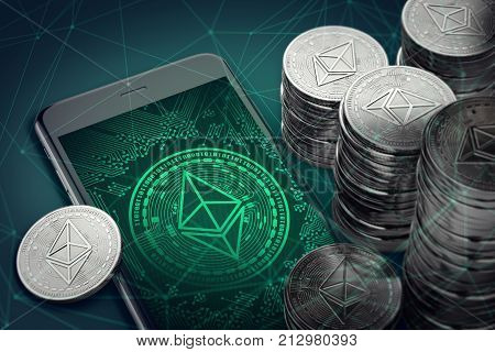 Smartphone with Ethereum symbol on-screen among piles of Ether. Ethereum blockchain technology concept. 3D rendering