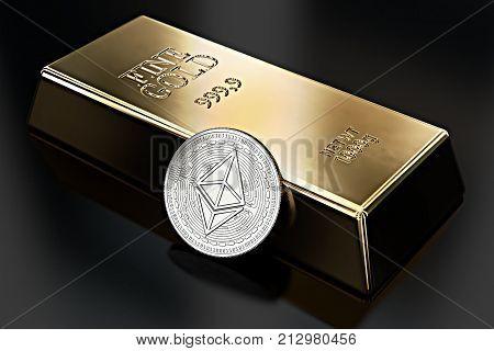 Ethereum coin lean against gold ingot (bullion bar). Ethereum as desirable as gold - concept. 3D rendering