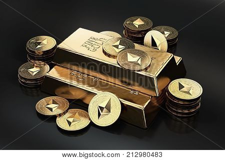 Big stack of golden Ethereum coins and gold bar (gold ingot). Ethereum as a future gold (most precious commodity in the world). 3D rendering poster