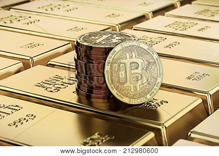 Bitcoin laying on stacked gold bars (gold ingots) rendered with shallow depth of field. Bitcoin as desirable as gold concept. 3D rendering