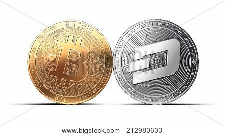 Clash Of Bitcoin And Dash Coins Isolated On White Background With Copy Space. Competing Cryptocurren