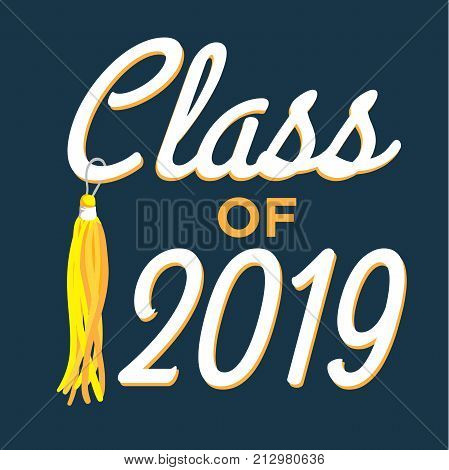Class Of 2019 Congratulations Graduate Typography With Stars And Tassel
