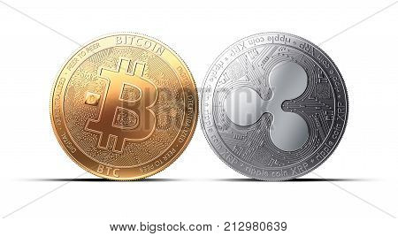 Clash of Bitcoin and Ripple (XRP) coins isolated on white background with copy space. Competing cryptocurrencies concept. 3D rendering