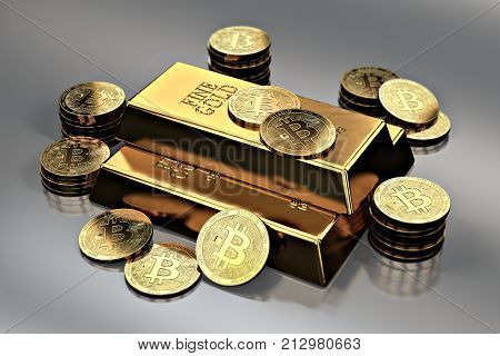Stack of Golden Bitcoins around gold bar (bullion bar). Bitcoin as a future gold (most precious commodity in the world). 3D rendering