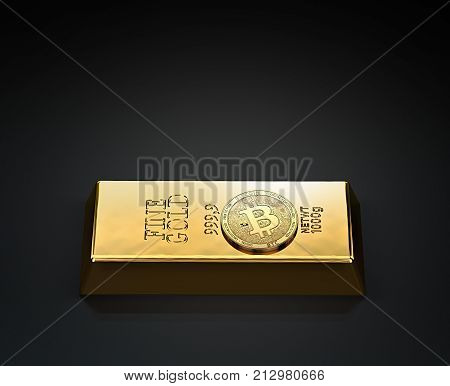 Golden Bitcoin laying on the gold ingot (bullion bar) with copy space above available. Bitcoin as a future gold (most precious commodity in the world). 3D rendering