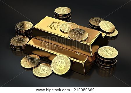 Stack of Bitcoins and gold ingots (bullion bar). Cryptocurrencies as a future gold (most precious commodity in the world). 3D rendering
