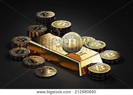 Big stack of Bitcoins and gold bar (gold ingot). Bitcoin as a future gold (most precious commodity in the world). 3D rendering poster