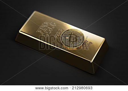 Golden Bitcoin laying on the gold ingot (bullion bar) with copy space available in the corners. Bitcoin as a future gold (most precious commodity in the world). 3D rendering