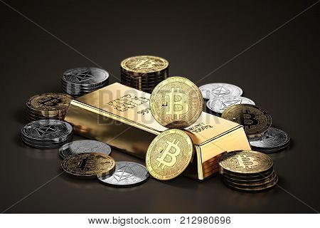 Stack of Bitcoins and Ethereum coins around gold ingot (bullion bar). Cryptocurrencies as a future gold (most precious commodity in the world). 3D rendering