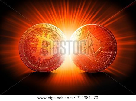 Clash of Bitcoin and Ethereum coins on a bright starburst background. Competing cryptocurrencies concept.