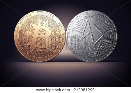 Clash of Bitcoin and Ethereum coins on a gently lit dark background. Competing cryptocurrencies concept.