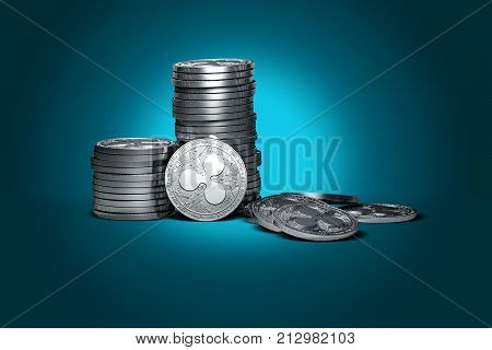 Big stack of Ripple coins (XRP) isolated on gently lit cyan background. Ripple coin growth concept. New virtual money 3D render.