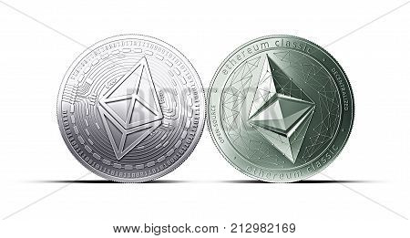 Clash of Ethereum and Ethereum classic coins isolated on white background with copy space. Competing cryptocurrencies concept. 3d rendering