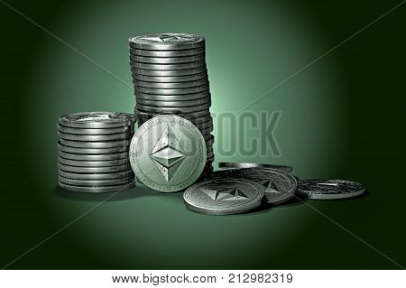 Big stack of Ethereum classic (ETC) coins on gently lit green background. ETC growth concept. New virtual money 3D render.