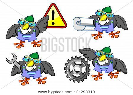 Set of old grey birds with tools warning sigh and coiled paper poster