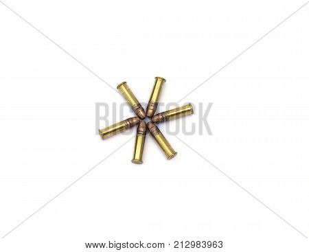 Six bullets shaped like a start on a white background