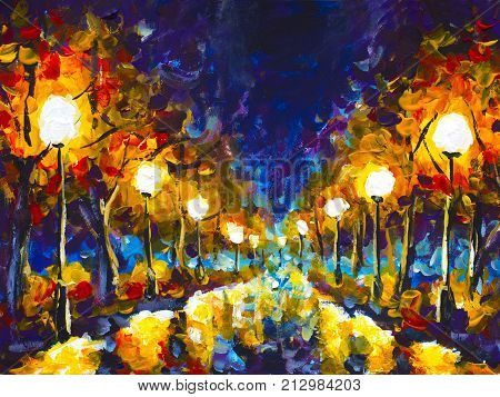 Original expressionism oil painting evening park cityscape beautiful reflection on wet asphalt on canvas. Abstract violet-orange lonely night park. Palette knife artwork. Impressionism. Art.