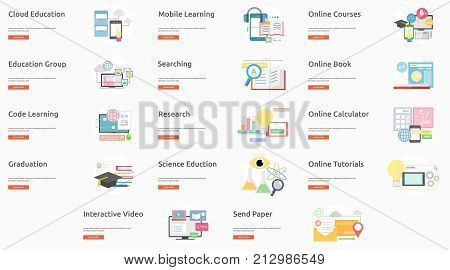 E-Learning and Online Education Banner Concept | Set of great banner design illustration concepts for education, learning, internet, network and much more.