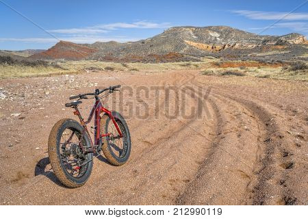 fat bike on trail with deep, loose gravel - Big Hole Wash Trail in  Red Mountain Open Space north of Fort Collins, Colorado