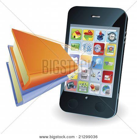 Concetto di smartphone libro