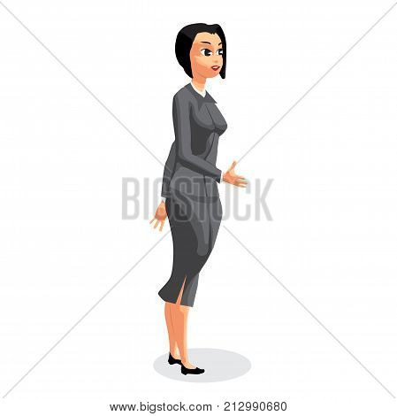 Standing business woman stretching her open hand offering handshake. Welcoming and ready for communication. Flat vector illustration isolated on white background