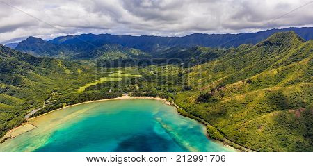 Aerial View Of Mountain Ridges And Coastline In Oahu Hawaii