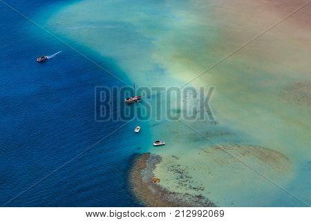 Aerial View Of A Sandbar Lagoon And Beach In Oahu Hawaii